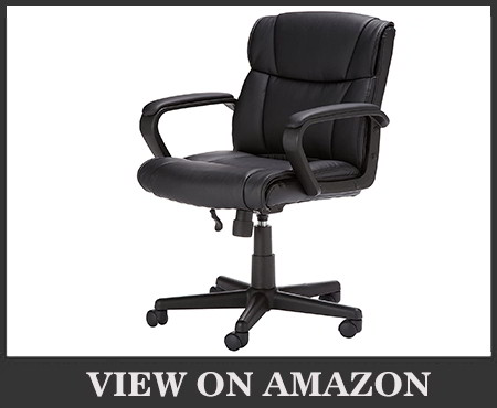 AmazonBasics Classic Leather-Padded Mid-Back Office Chair
